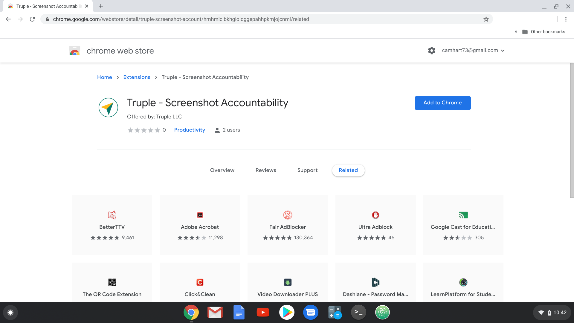 truple screenshot accountability in the chrome web store