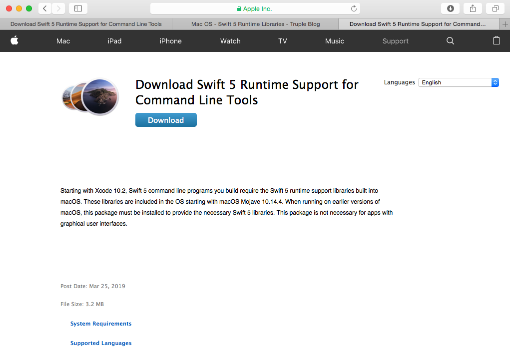 download swift 5 runtime libraries